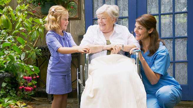 elderly woman with daughter and granddaughter