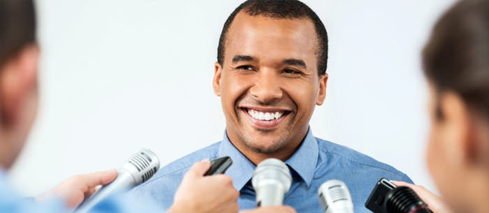 professional talking in mic